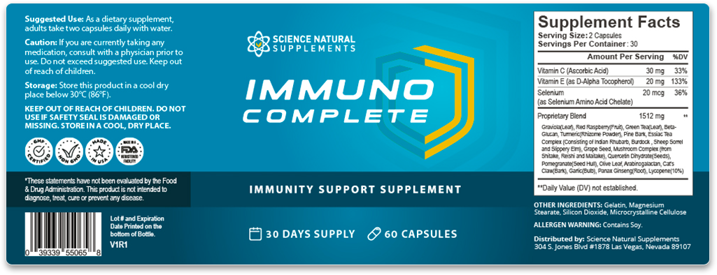 Immuno Complete contains high quality ingredients